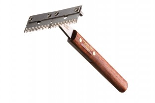 Trimm-King double wide, coarse, wooden handle
